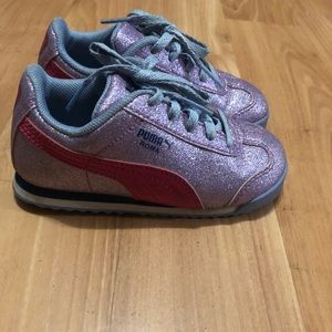Purple puma glitter shoes